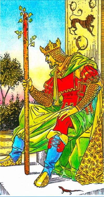 Король Жезлов (Посохов) в колоде Таро Уэйта