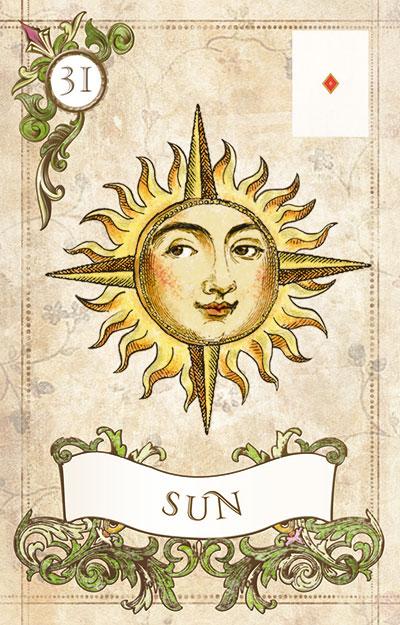 Так выглядит карта Солнце оракула Ленорман